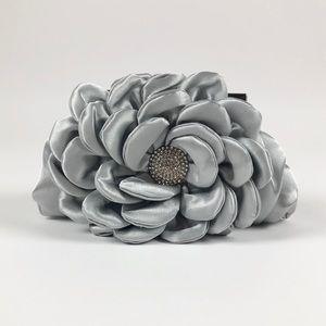 Silver Satin Crystal Flower Frame Evening Clutch